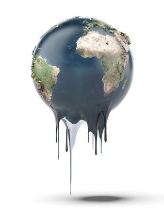 녹는 지구는 흰색 배경에 고립.