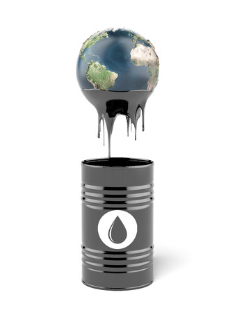 oil barrel: barrel oil with earth globe  isolated on a white background. 3d render