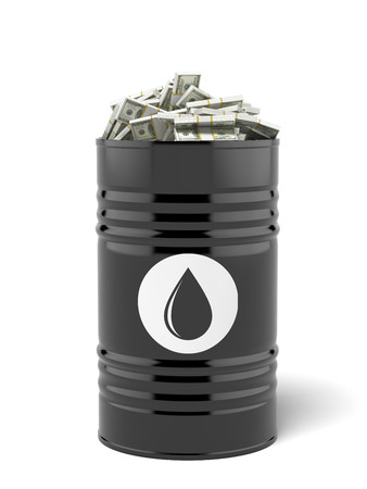 barell: Barrel of oil with dollars isolated on a white background. 3d render