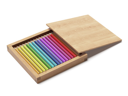 wooden box with pencils isolated on a white background. 3d render photo