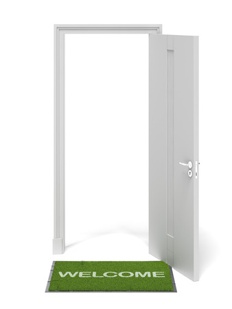 welcome door: Doorway with green Carpet  isolated on a white background. 3d render