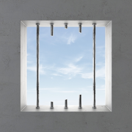 escape from prison: Broken prison window with skies. 3d render Stock Photo