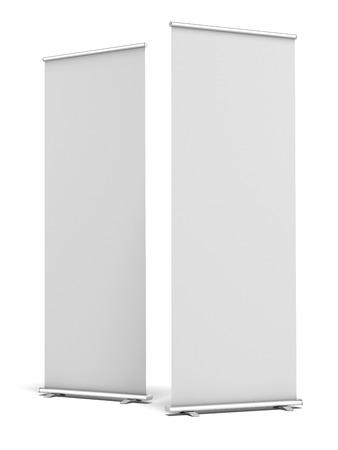 두 개의 빈 롤 업 디스플레이 배너 흰색 배경에 고립. 3d 렌더링