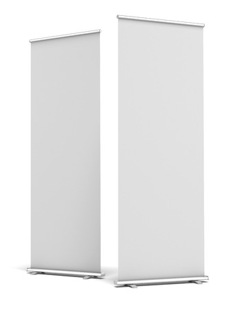 exhibition: Two Blank Roll Up Display Banner isolated on a white background. 3d render