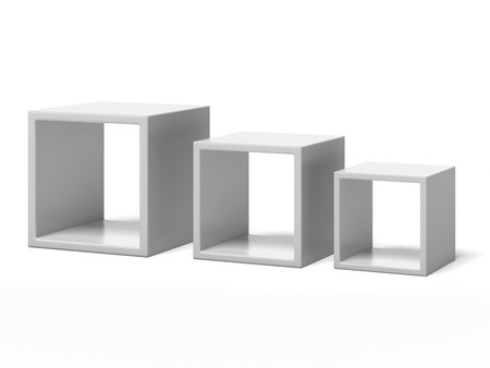 three white box shelves  isolated on a white background. 3d render photo