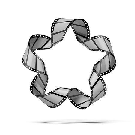 expose: Film strip infinity isolated on a white background. 3d render