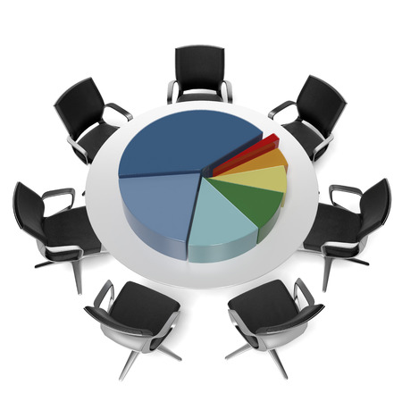 international organization: table with pie chart  isolated on a white background. 3d render Stock Photo