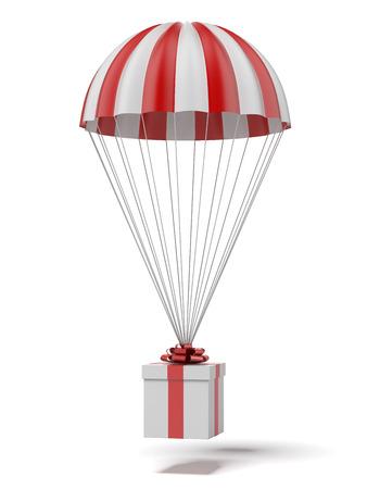 fallschirm: Fallschirm mit einem Geschenk auf einem weißen Hintergrund. 3d render