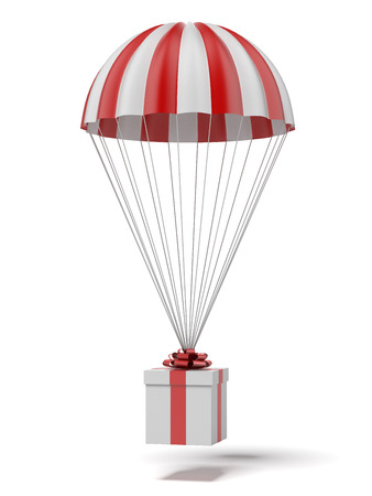 parachute with a gift isolated on a white background. 3d render photo