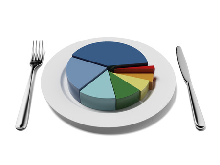 pie chart isolated on a white background. 3d render photo