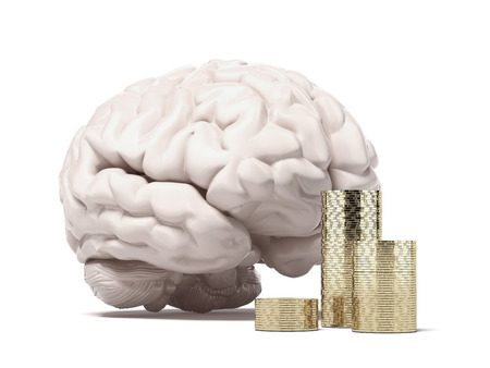 money matters: brain and coins  isolated on a white background. 3d render Stock Photo
