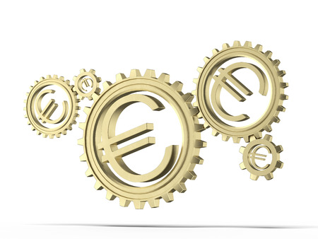 Euro coin gears isolated on a white background. 3d render photo