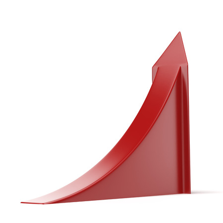 incremental: Red ascending arrow  isolated on a white background. 3d render Stock Photo