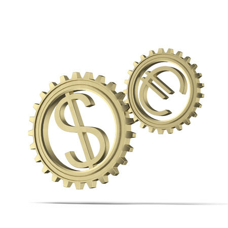 european union currency: gears with dollar and euro symbols  isolated on a white background. 3d render Stock Photo