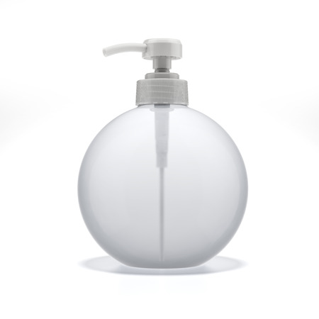 dispenser: Transparent Liquid Soap Dispenser Pump  isolated on a white background. 3d render