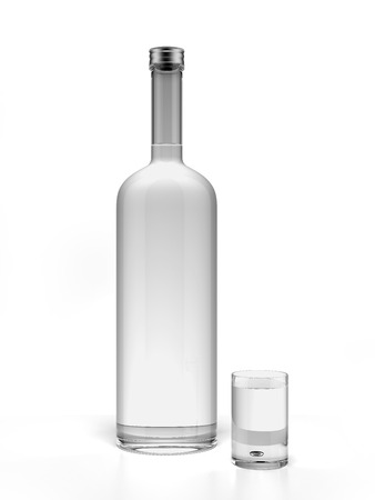 Bottle of vodka and empty shot glass isolated on a white background. 3d render