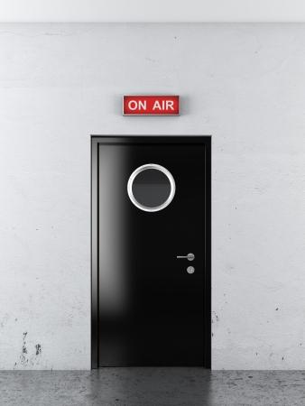 newscaster: door to audio  tudio. 3d render Stock Photo