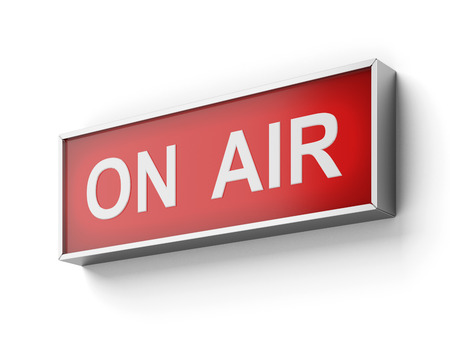 telecast: On Air sign  isolated on a white background. 3d render