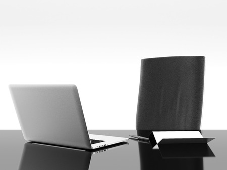 Black office desk with laptop isolated on a white background. 3d render photo