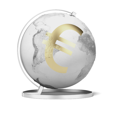 exchange rate: Gold euro symbol and globe isolated on a white background. 3d render