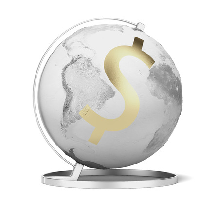 The globe and dollar  isolated on a white background. 3d render photo