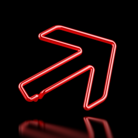 Red Neon arrow  isolated on a blackbackground. 3d render photo
