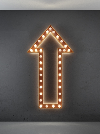red arrow: red arrow sign in interior. 3d render