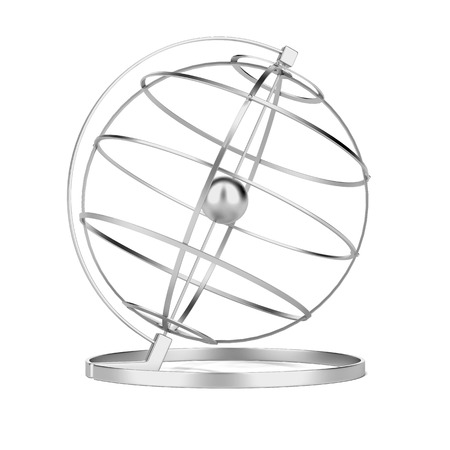 longitude: Metal globe isolated on a white . 3d render Stock Photo