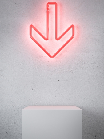 left arrow: Red Neon arrow in interior. 3d render