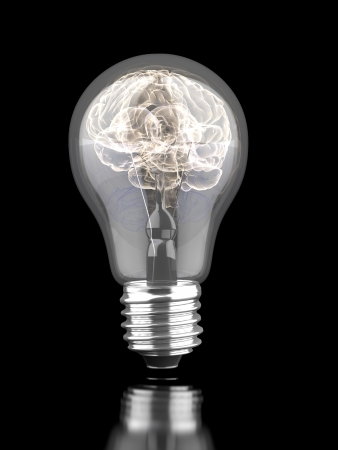 Brain inside a light bulb isolated on a white . 3d render photo