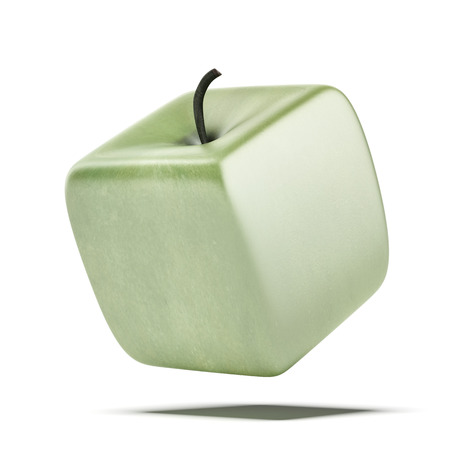 genetically modified crops: cubic apple fruit  isolated on a white . 3d render