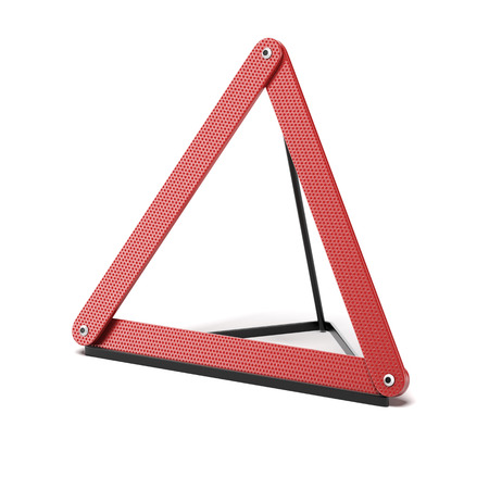 Emergency warning triangle isolated on a white . 3d render photo