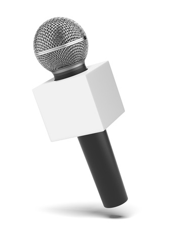 news stand: microphone with copy space box  isolated on a white . 3d render