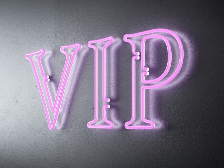 Neon VIP sign. 3d render photo