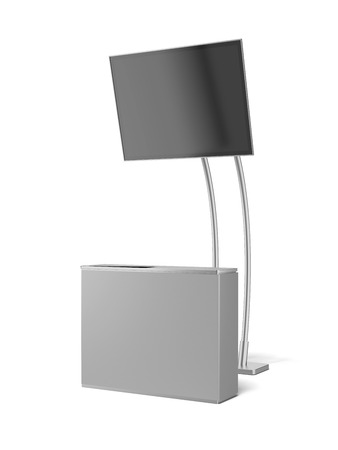 expositor: módulo de publicidad en blanco con el panel de la TV aislado en un blanco. 3d Foto de archivo
