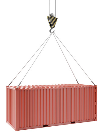 seafreight: Gr�as y contenedores de color rojo aisladas sobre un fondo blanco. 3d
