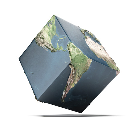Earth cube isolated on a white . 3d render photo