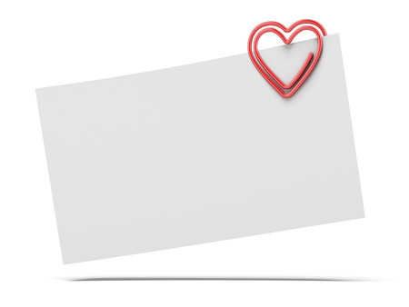 paperclip: note paper and heart paper-clip  isolated on a white background. 3d render