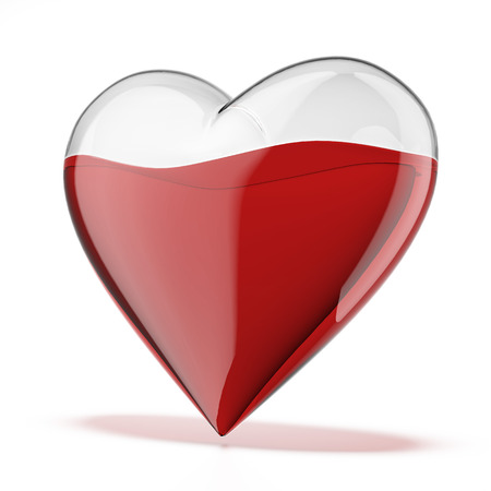 liquid reflect:  glass heart filled with red liquid isolated on a white . 3d render