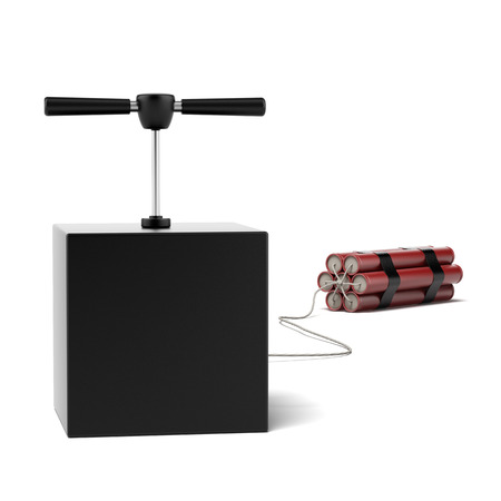 Explosive Dynamite isolated on a white . 3d render Stock Photo