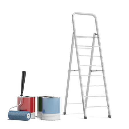 stepladder: stepladder and paint  isolated on a white . 3d render