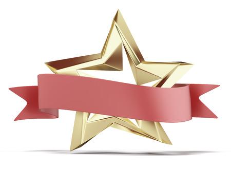 Gouden ster en rood lint geïsoleerd op een witte. 3d render