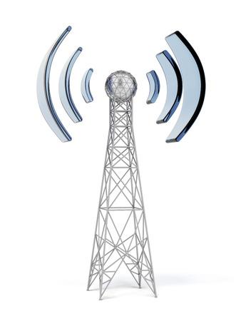 通信用アンテナは、白で隔離されます。3 d のレンダリング 写真素材