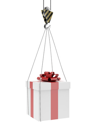 hooks: Gift on crane hook   isolated on a white . 3d render