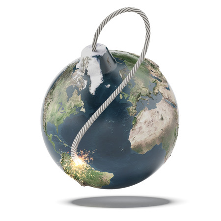 sabotage: Earth bomb isolated on a white background. 3d render