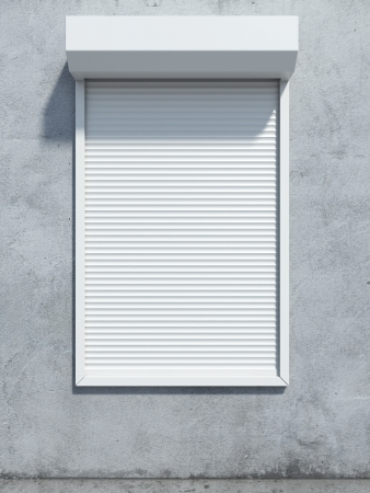 Window with roller shutter. 3d render photo