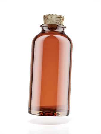 brown bottle: Medicine bottle of brown glass isolated on a white background. 3d render Stock Photo