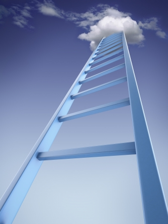 ladder of success: Ladder into sky isolated on a white background. 3d render