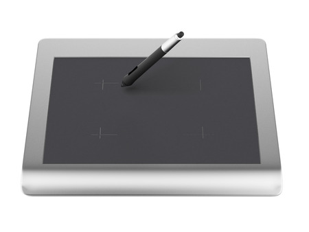 digitizer: Graphic tablet with pen isolated on a white background. 3d render