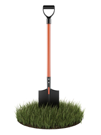 Shovel in green grass isolated on a white background. 3d render photo